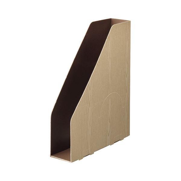 (まとめ) TANOSEEボックスファイル(WOODY) A4スリムタテ 背幅65mm ナチュラル 1セット(15冊:3冊×5パック) 【×10セット】
