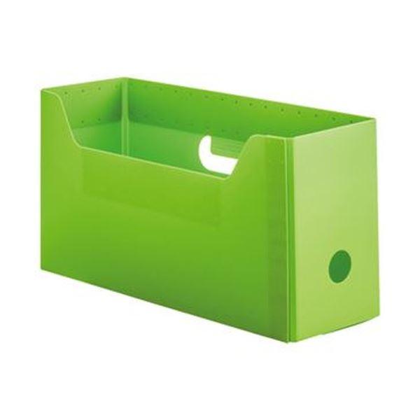 (まとめ)TANOSEE PP製ボックスファイル(組み立て式)A4ヨコ ショートサイズ グリーン 1個【×50セット】