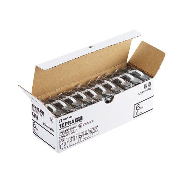 キングジム PROテープ SS6K-10PN 白に黒文字6mm10個