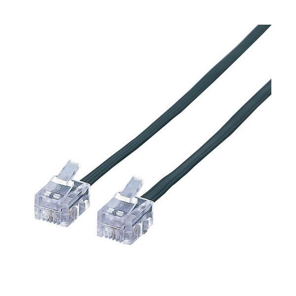 (まとめ) エレコム スリムモジュラケーブル6極4芯 ブラック 5m MJ-5BK 1本 【×30セット】