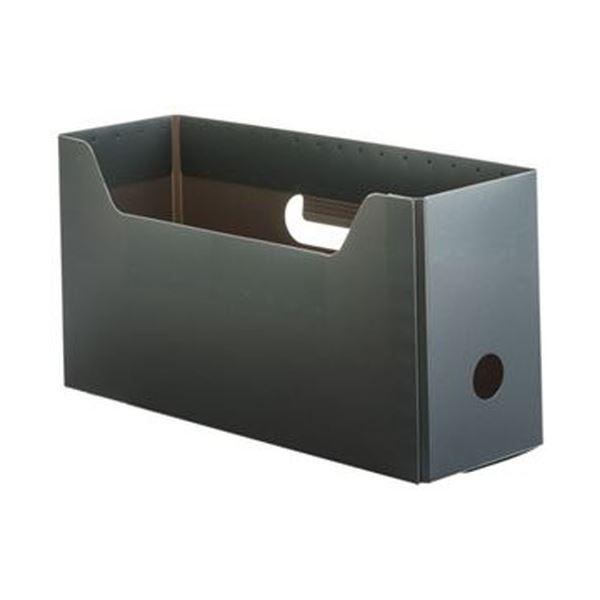(まとめ)TANOSEE PP製ボックスファイル(組み立て式)A4ヨコ ショートサイズ グレー 1個【×50セット】