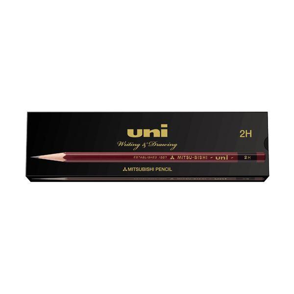 (まとめ) 三菱鉛筆 鉛筆 ユニ紙箱 2H UK2H 1ダース(12本) 【×10セット】