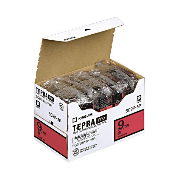 (まとめ)キングジム テプラ PRO テープカートリッジ パステル 9mm 赤/黒文字 エコパック SC9R-5P 1パック(5個)【×3セット】