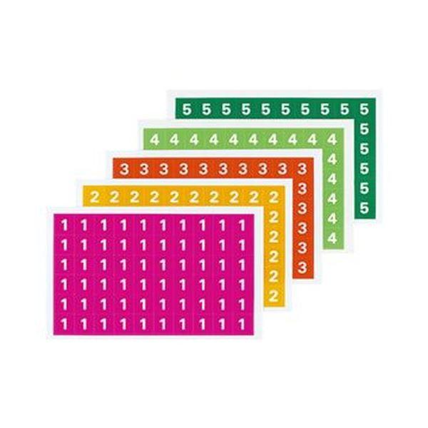(まとめ)コクヨ ナンバーシール(ミックス)(1~5)ハードカラー L-FCM-1 1パック(300片:60片×5シート)【×20セット】