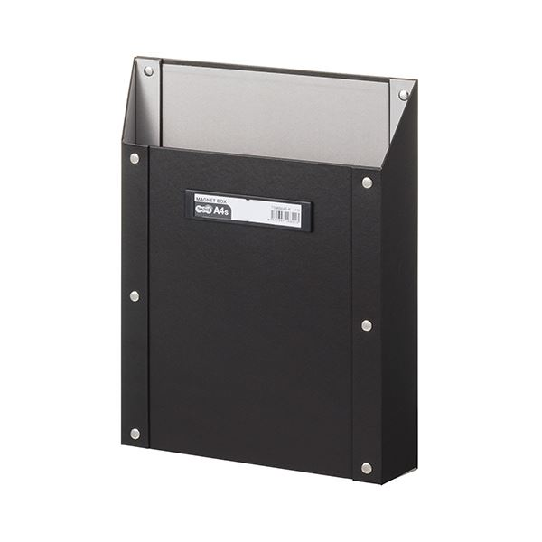 (まとめ) TANOSEEマグネットボックス(貼り表紙) A4タテ型 黒 1個 【×10セット】