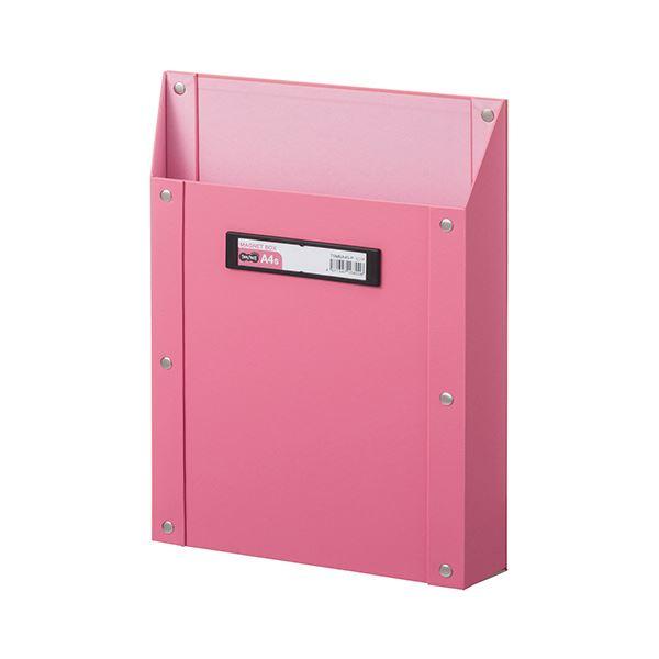 (まとめ) TANOSEEマグネットボックス(貼り表紙) A4タテ型 ピンク 1個 【×10セット】