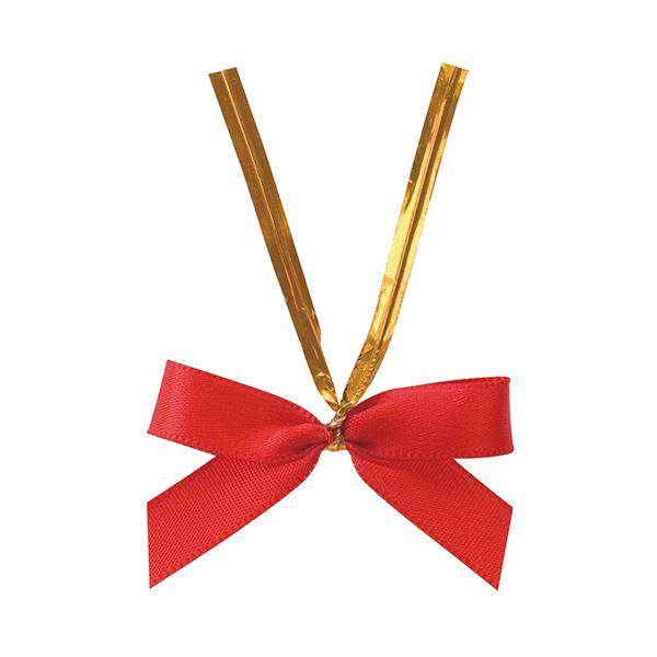 (まとめ) ヘッズ サテンリボンワイヤータイ レッド小 RED-YT2 1パック(50個) 【×10セット】