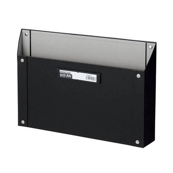 (まとめ) TANOSEE マグネットボックス(貼り表紙) A4サイズ 黒 1個 【×10セット】