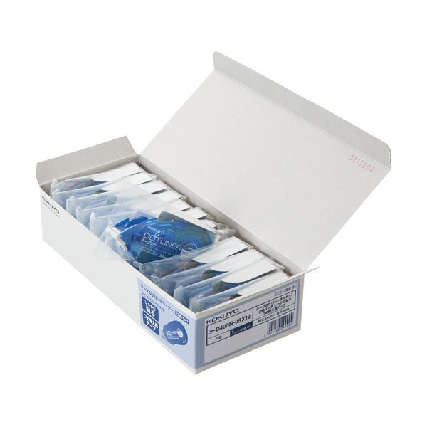 (まとめ) コクヨ テープのり ドットライナー しっかり貼るタイプ つめ替え用 8.4mm×16m タ-D400N-08X12 1パック(12個) 【×5セット】