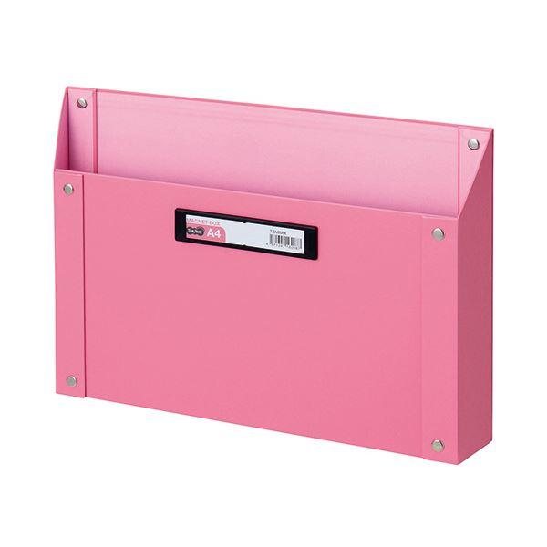 (まとめ) TANOSEE マグネットボックス(貼り表紙) A4サイズ ピンク 1個 【×10セット】