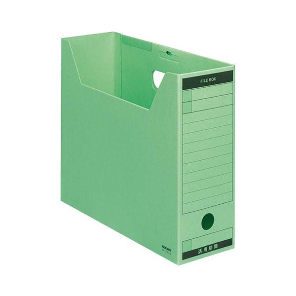 (まとめ) コクヨ ファイルボックス-FS(Bタイプ) A4ヨコ 背幅102mm 緑 フタ付 A4-LFBN-G 1パック(5冊) 【×10セット】