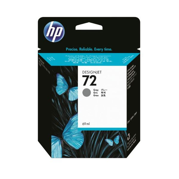 (まとめ) HP72 インクカートリッジ グレー 69ml 染料系 C9401A 1個 【×10セット】