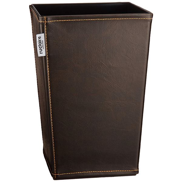 (まとめ) ゴミ箱/ダストボックス 【角型 レザーS】 ブラウン レザー調カバー ルクレールコレクション 【36個セット】