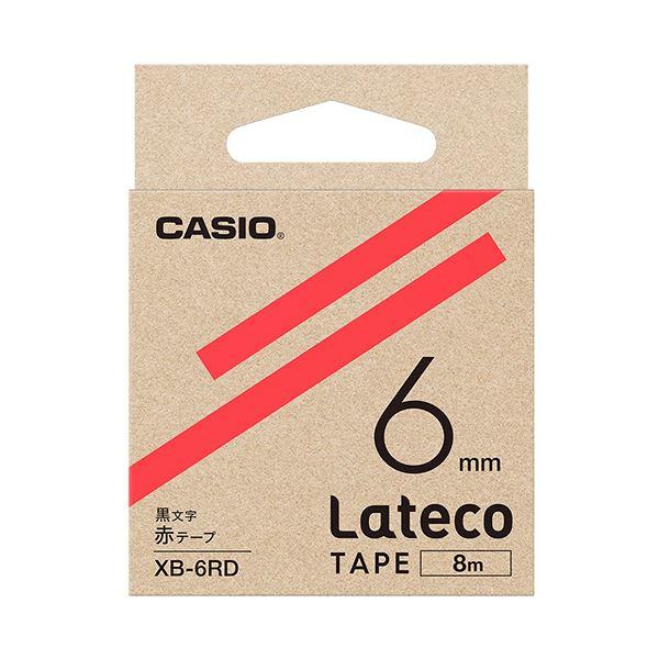 (まとめ)カシオ ラテコ 詰替用テープ6mm×8m 赤/黒文字 XB-6RD 1個【×10セット】