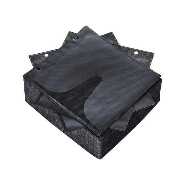 (まとめ) サンワサプライ DVD・CD不織布ケースリング穴付 インデックスカード付属 ブラック FCD-FR100BKN 1パック(100枚) 【×10セット】