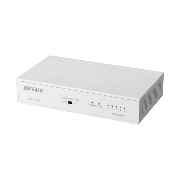 バッファロー Giga対応スイッチングハブ 金属筐体 電源内蔵 5ポート ホワイト LSW6-GT-5NS/WH 1セット(3台)