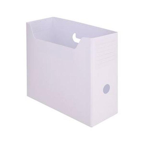 (まとめ)TANOSEE PP製ボックスファイル(組み立て式)A4ヨコ ホワイト 1セット(10個)【×5セット】