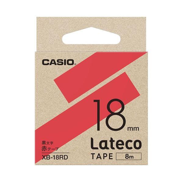 (まとめ)カシオ計算機 ラテコ専用テープXB-18RD赤に黒文字(×10セット)
