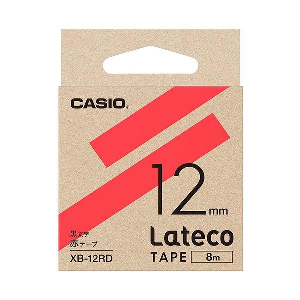 (まとめ)カシオ ラテコ 詰替用テープ12mm×8m 赤/黒文字 XB-12RD 1個【×10セット】