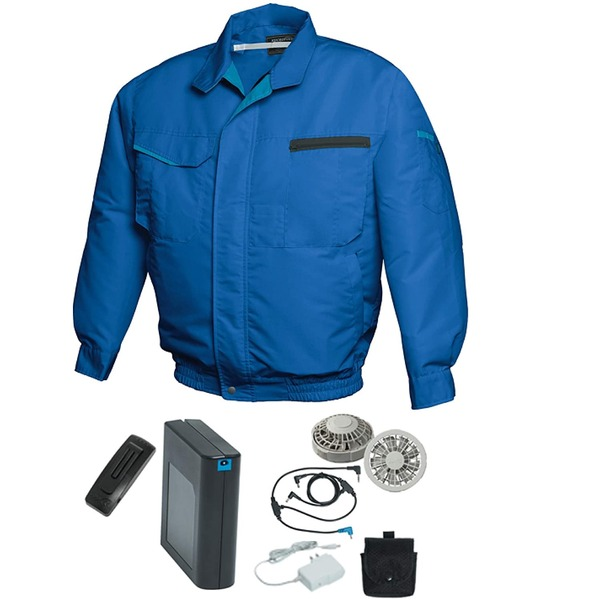空調服/作業着 【XL ブルー シルバーファン】 バッテリーセット 綿・ポリエステル混紡 洗濯耐久性 『FAN FIT FF91810』