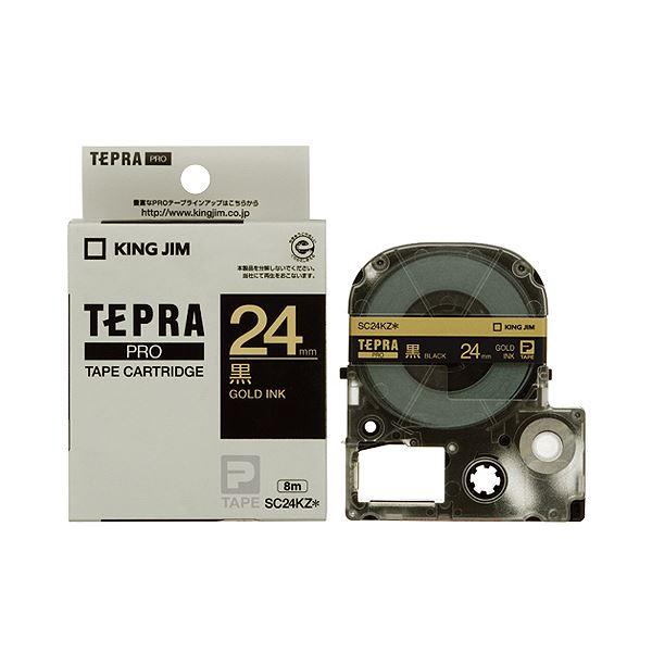 (まとめ) キングジム テプラ PRO テープカートリッジ パステル 24mm 黒/金文字 SC24KZ 1個 【×10セット】