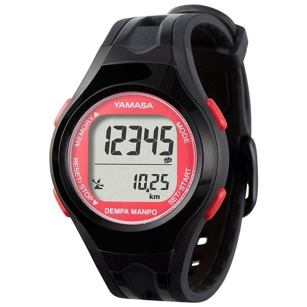 【スーパーセールでポイント最大44倍】腕時計型 万歩計/歩数計 【ブラック×レッド TM450-BKR】 電波時計内蔵 生活防水 『DEMPA MANPO』 〔運動用品〕【代引不可】