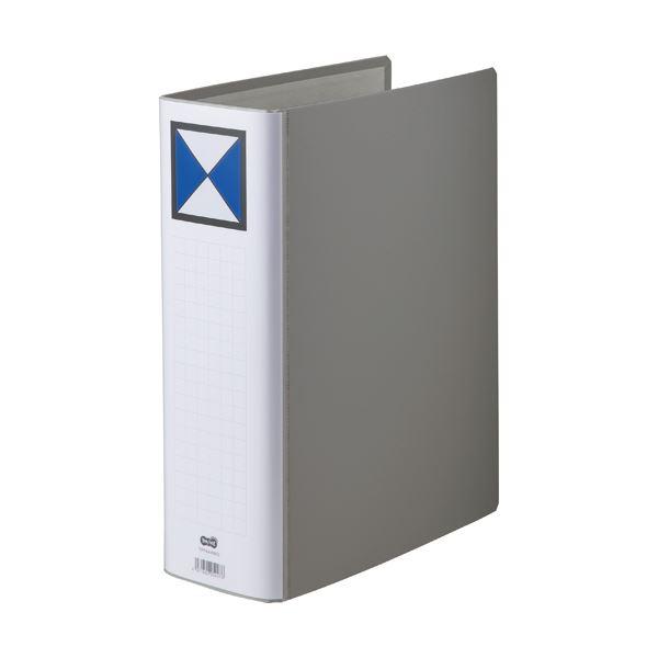 【スーパーセールでポイント最大44倍】(まとめ) TANOSEE 両開きパイプ式ファイル A4タテ 800枚収容 背幅96mm グレー 1冊 【×10セット】