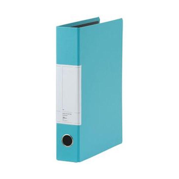 (まとめ)TANOSEE 両開きパイプ式ファイルSt A4タテ 300枚収容 30mmとじ 背幅57mm スカイブルー 1セット(10冊)【×3セット】