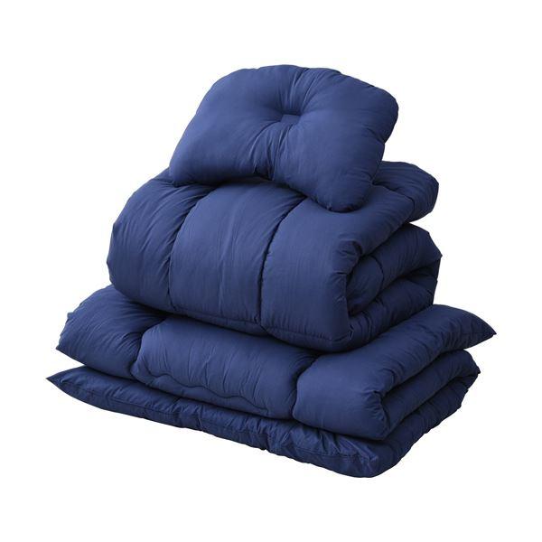 ギフ_包装 折りたたみベッドに好適な すぐに使える布団セット YAMAZEN布団4点セット カバーなし 1セット ☆最安値に挑戦 NV YEF-4XSP1 ネイビー