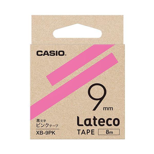 (まとめ)カシオ ラテコ 詰替用テープ9mm×8m ピンク/黒文字 XB-9PK 1個【×10セット】