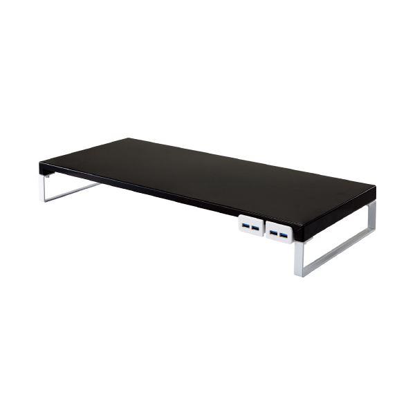 (まとめ)LIHITLAB 机上台 590mm USB3.0ハブ付 黒 A-7334-24【×5セット】