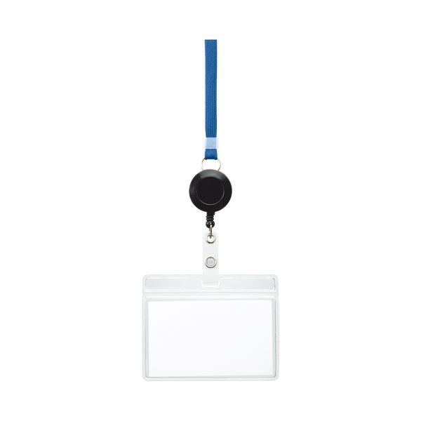 【スーパーセールでポイント最大44倍】(まとめ) TANOSEE リール式吊下げ名札チャックなし 青 1個 【×30セット】