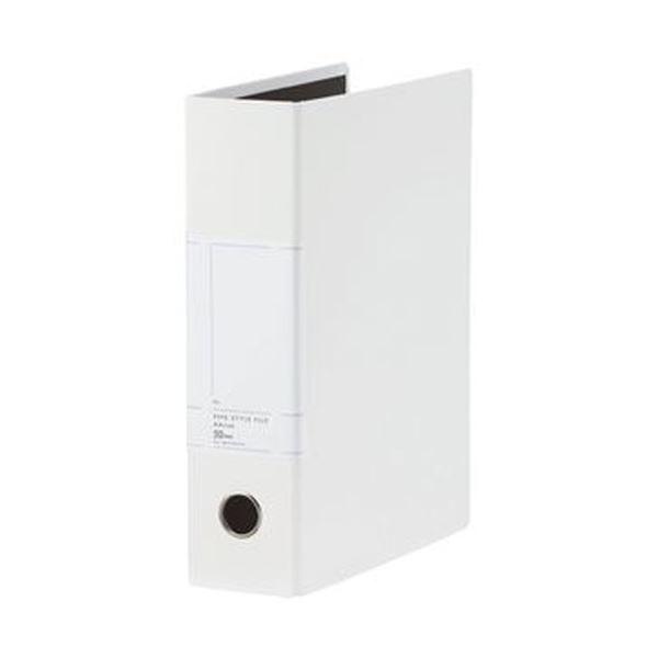 (まとめ)TANOSEE 両開きパイプ式ファイルSt A4タテ 500枚収容 50mmとじ 背幅77mm ホワイト 1冊【×20セット】