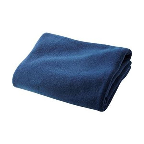 (まとめ)フリースひざ掛け 巾着入 70×80cmネイビー 1枚【×20セット】