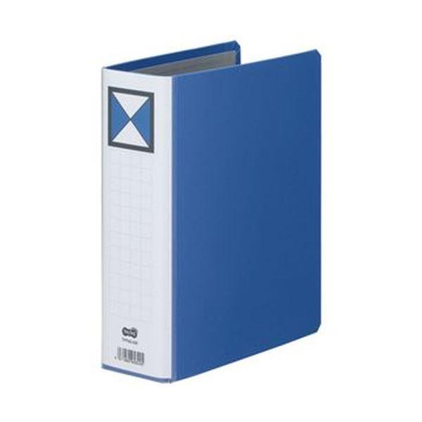 (まとめ)TANOSEE 両開きパイプ式ファイルA5タテ 500枚収容 50mmとじ 背幅66mm 青 1セット(10冊)【×3セット】