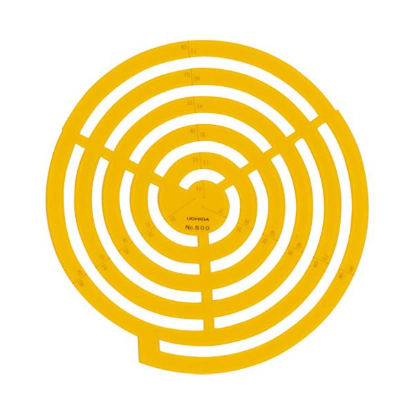 (まとめ)内田洋行 テンプレートNo.500 円周定規 1-843-0500【×10セット】