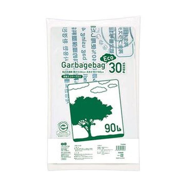 (まとめ)TANOSEE リサイクルポリ袋(エコデザイン)乳白半透明 90L 1パック(30枚)【×10セット】