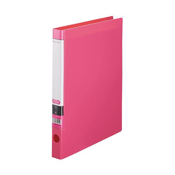 (まとめ) TANOSEE OリングファイルA4タテ 2穴 150枚収容 背幅32mm ピンク 1セット(10冊) 【×10セット】