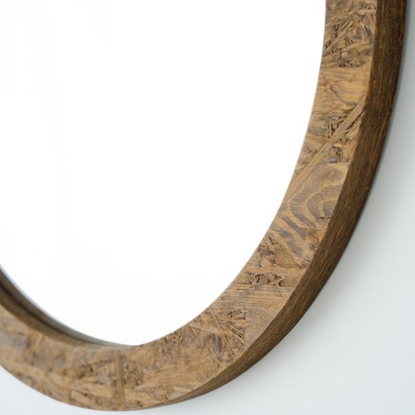 【スーパーセールでポイント最大44倍】OSB丸形ウォールミラー(80) (ブラウン/茶) 直径80cm 鏡/スリム/高級感/ヴィンテージ/ブルックリン/飛散防止加工/壁掛け/オシャレ/北欧風/オーバル/日本製/完成品/NK-15