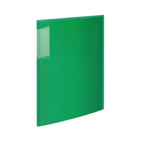 【スーパーセールでポイント最大44倍】(まとめ)コクヨ クリヤーブック(ノビータ)固定式 A4タテ 40ポケット 背幅8~50mm 緑 ラ-N40G 1冊 【×10セット】