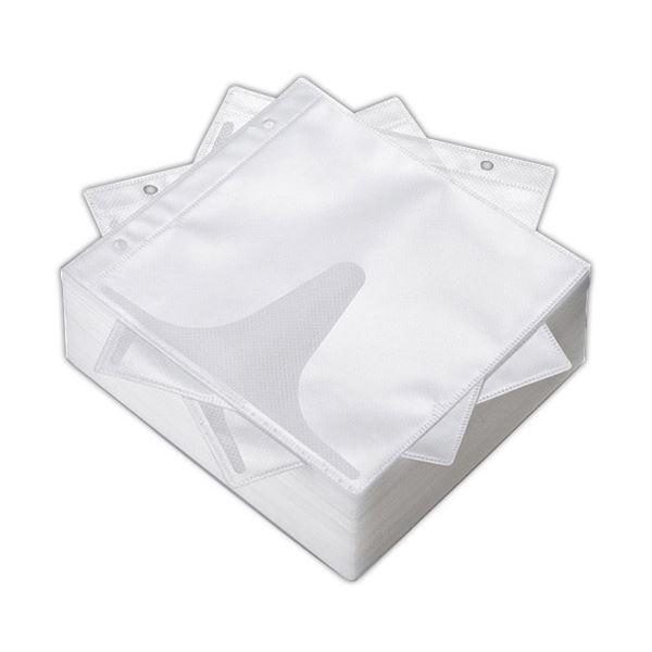 (まとめ) サンワサプライ DVD・CD不織布ケースリング穴付 インデックスカード付属 ホワイト FCD-FR100WN 1パック(100枚) 【×10セット】
