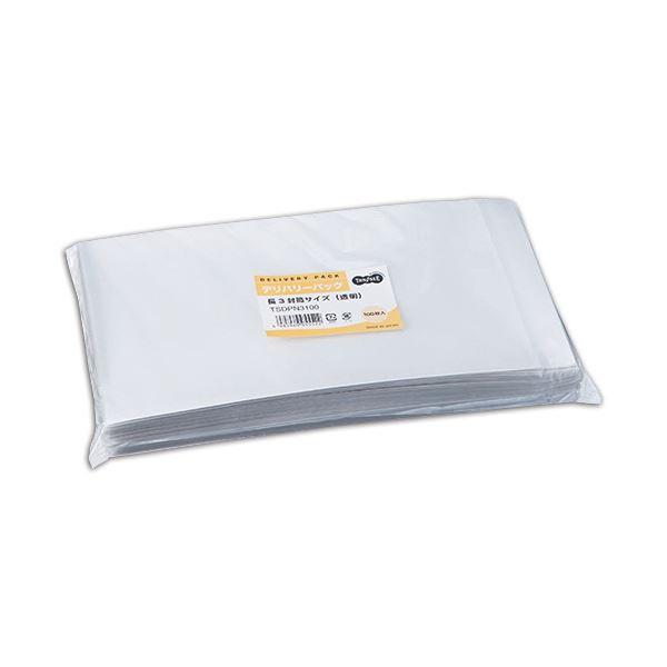 (まとめ) TANOSEE デリバリーパック 長3 透明 1パック(100枚) 【×5セット】