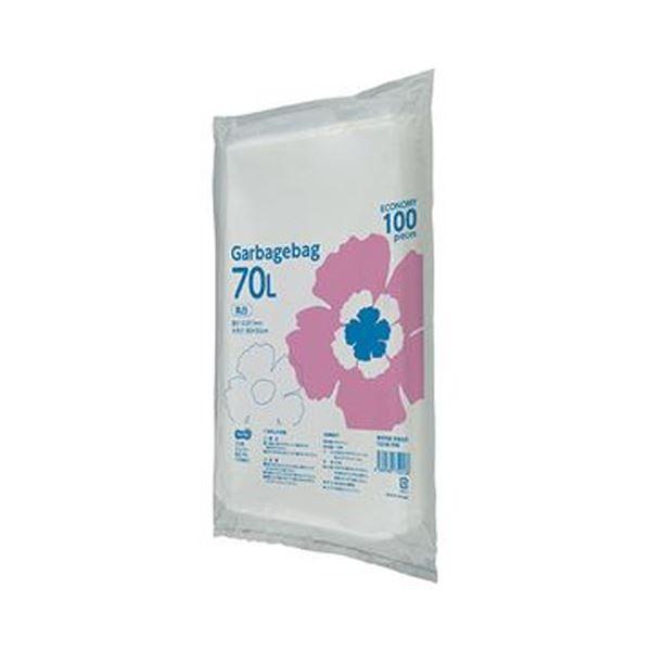 (まとめ)TANOSEE ゴミ袋エコノミー乳白半透明 70L 1パック(100枚)【×10セット】