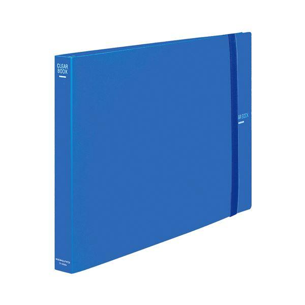 (まとめ)クリヤーブック クリアブック(替紙式) A3ヨコ 30穴 30ポケット 65枚収容 青【×3セット】