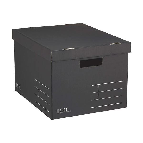 (まとめ) コクヨ 収納ボックス(NEOS)Lサイズ フタ付き ブラック A4-NELB-D 1個 【×10セット】