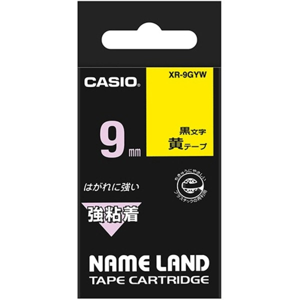 (まとめ) カシオ CASIO ネームランド NAME LAND 強粘着テープ 9mm×5.5m 黄/黒文字 XR-9GYW 1個 【×10セット】