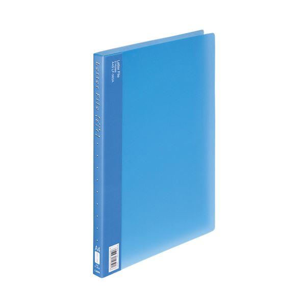 (まとめ) ライオン事務器PPレターファイル(エール) A4タテ 120枚収容 背幅18mm ブルー LF-363A-B 1冊 【×30セット】