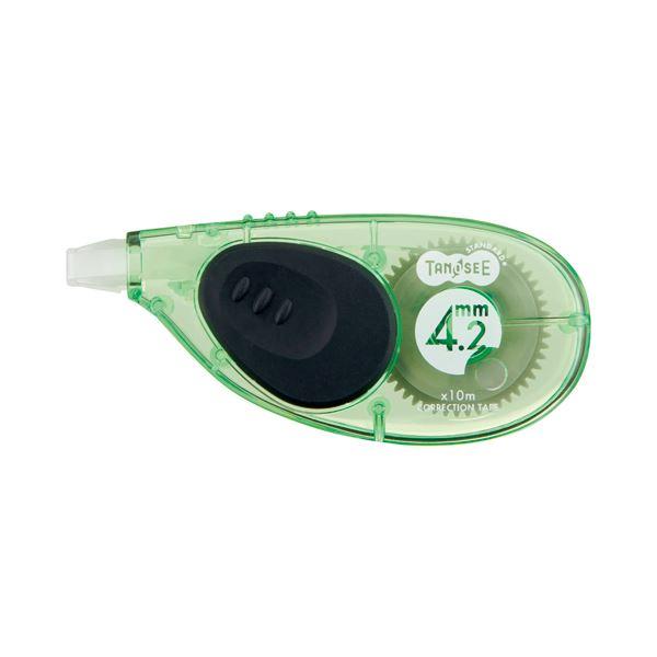 1セット(10個) TANOSEE 4.2mm幅×10m ヨコ引き (まとめ) グリーン 修正テープ 【×10セット】