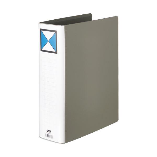 (まとめ)TANOSEE 両開きパイプ式ファイルA4タテ 700枚収容 70mmとじ 背幅86mm グレー 1セット(10冊)【×3セット】