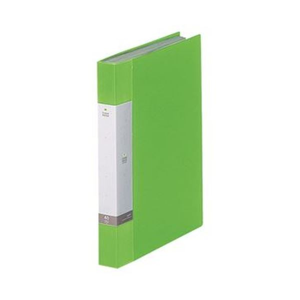 (まとめ)リヒトラブ リクエスト クリヤーブックA4タテ 40ポケット 背幅32mm 黄緑 G3202-6 1セット(10冊)【×3セット】